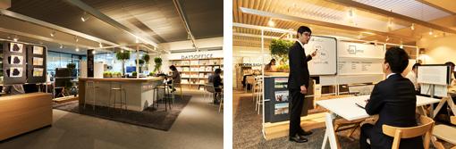 全国26カ所にあるコクヨのLIVE OFFICE。品川オフィスは新製品の「DAYS OFFICE」シリーズなどで構成されている