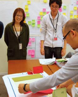 デザイン・シンキング研修④ プロトタイプを作成 解決策に基づいたプロトタイプを作成する研修。実際に開発するのではなく、紙の切り抜きでもいいので、イメージをすぐ見られるようにすることが重要だ