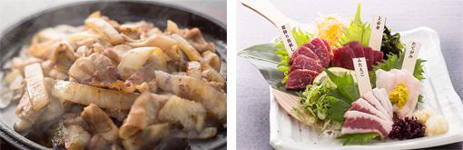 ご当地グルメの)1つ「十和田のバラ焼き」(左写真)鮮度の良さが感じられる「青森県産馬刺しの盛り合わせ」(右写真)